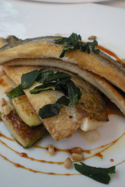 King George whiting with grilled zucchini, pinenuts and kecap manis