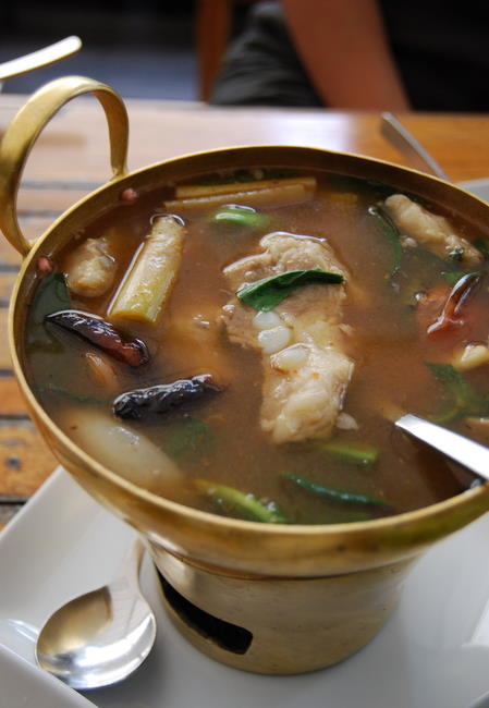 Spicy and sour pork ribs soup tom sap